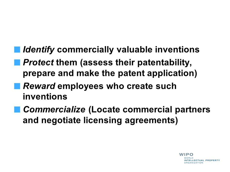 Identify commercially valuable inventions