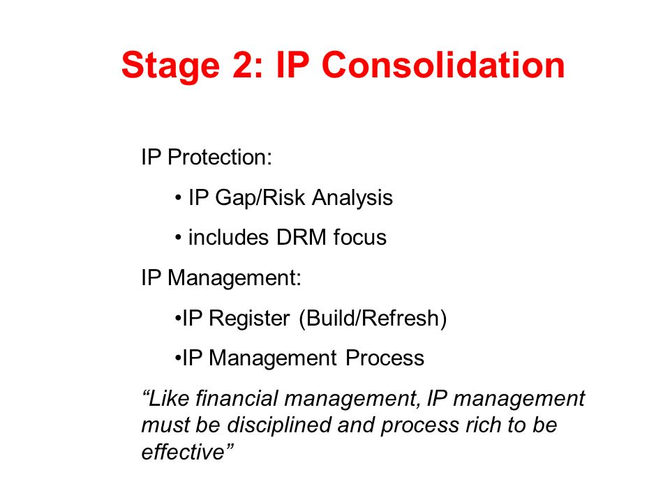 Stage 2: IP Consolidation
