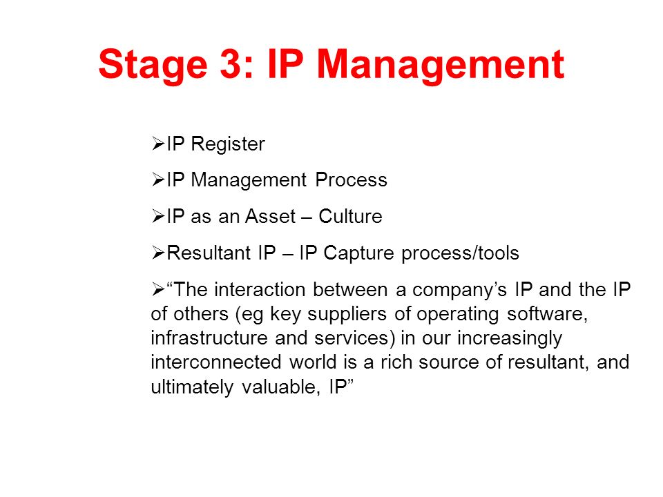 Stage 3: IP Management IP Register IP Management Process
