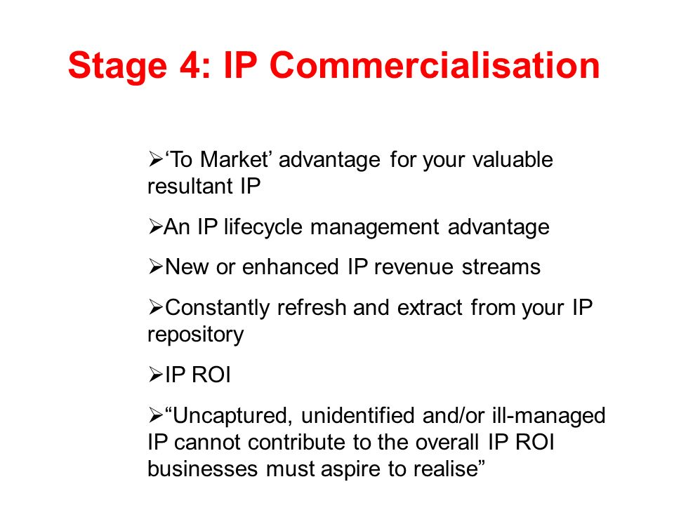 Stage 4: IP Commercialisation