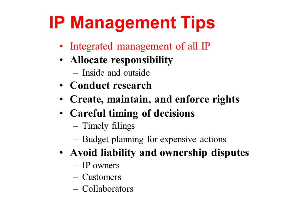 IP Management Tips Integrated management of all IP
