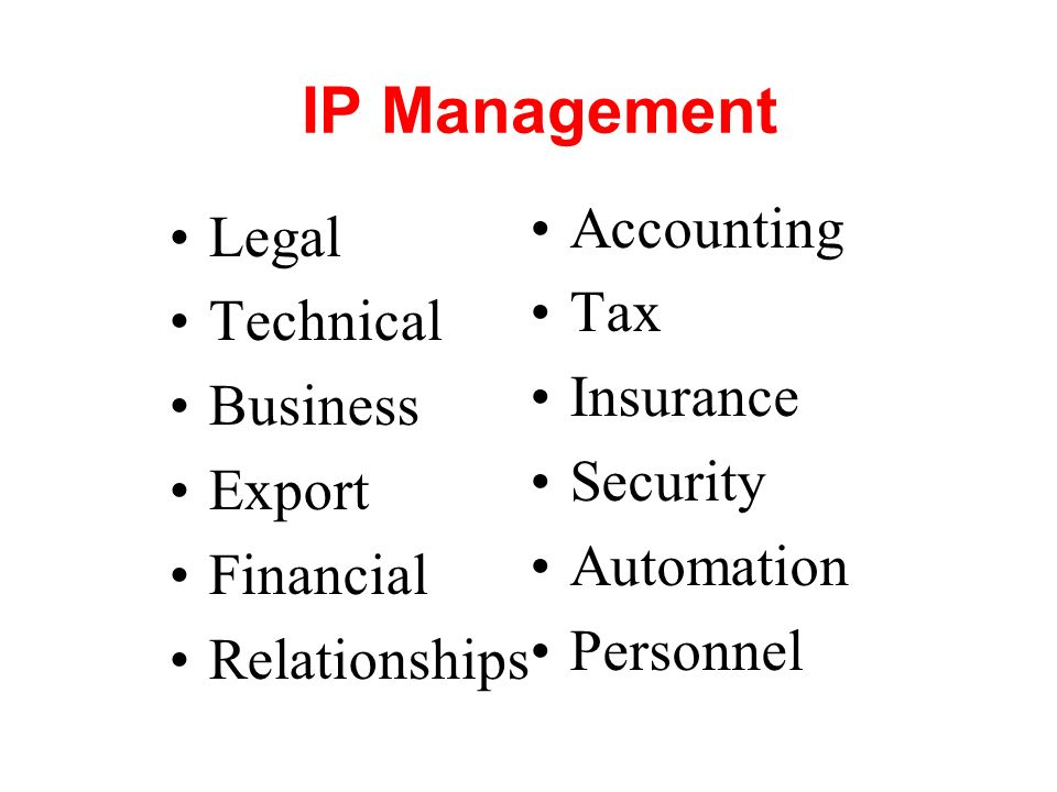 IP Management Accounting Legal Tax Technical Insurance Business