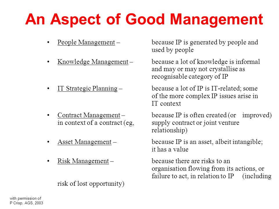 An Aspect of Good Management