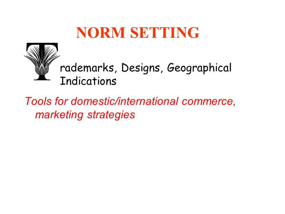 NORM SETTING rademarks, Designs, Geographical Indications
