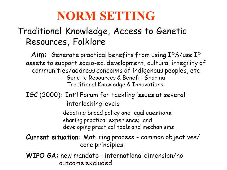 NORM SETTING Traditional Knowledge, Access to Genetic Resources, Folklore.