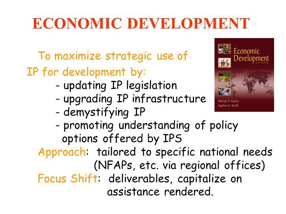 ECONOMIC DEVELOPMENT To maximize strategic use of