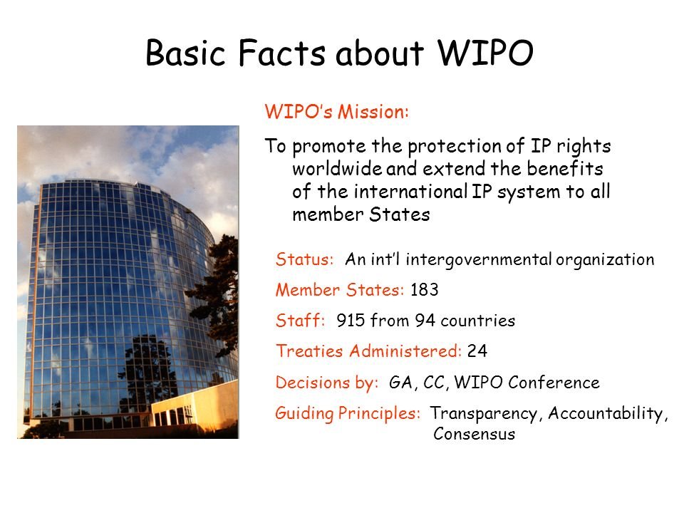 Basic Facts about WIPO WIPO's Mission: