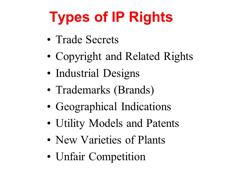 Types of IP Rights Trade Secrets Copyright and Related Rights