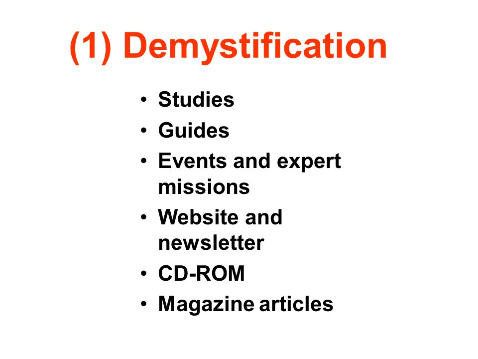 (1) Demystification Studies Guides Events and expert missions