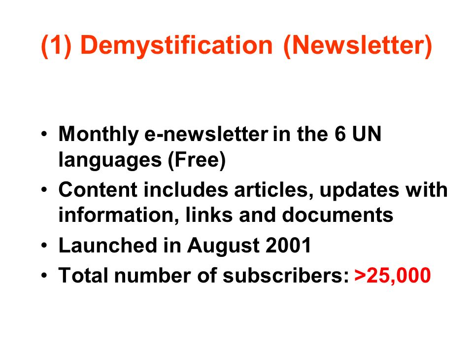 (1) Demystification (Newsletter)