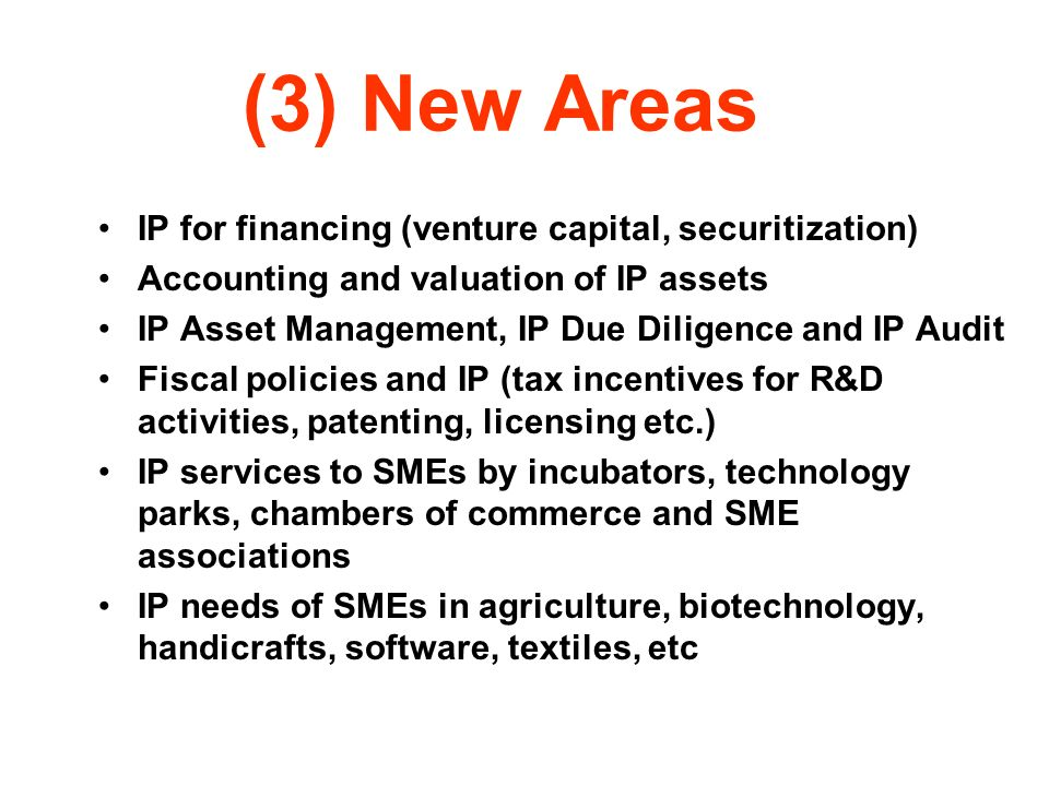 (3) New Areas IP for financing (venture capital, securitization)