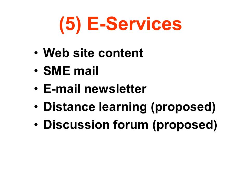 (5) E-Services Web site content SME mail E-mail newsletter