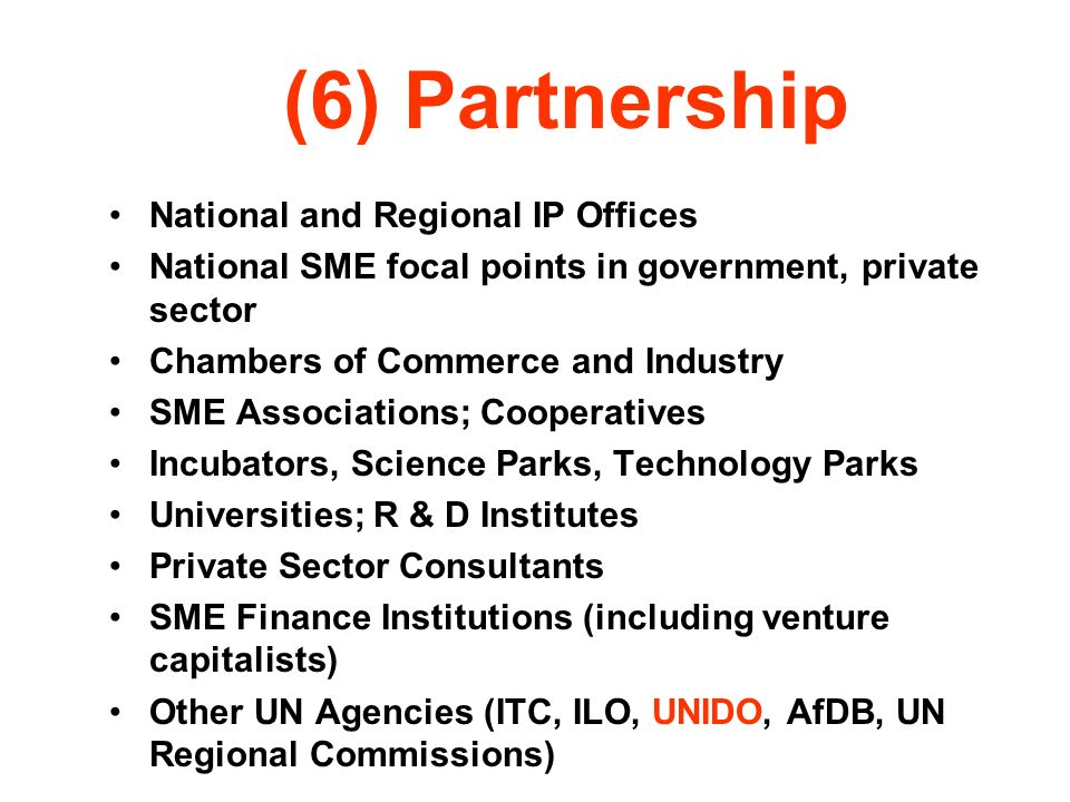 (6) Partnership National and Regional IP Offices