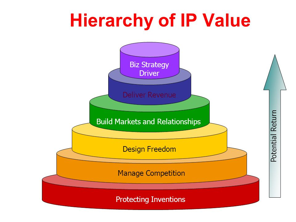 Hierarchy of IP Value Biz Strategy Driver Deliver Revenue