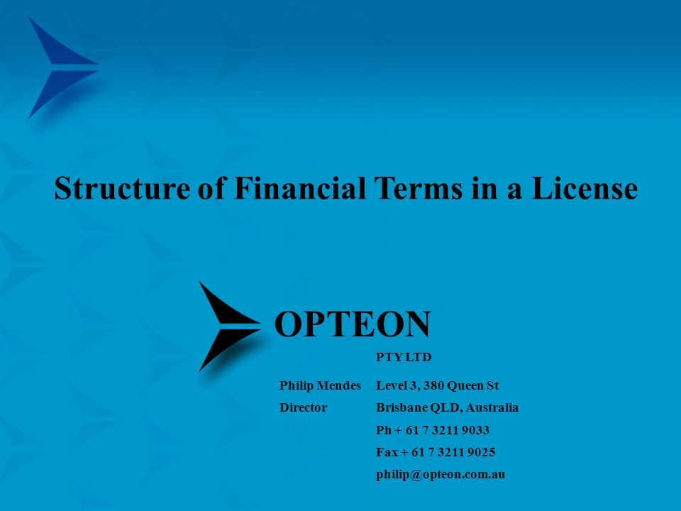 Structure of Financial Terms in a License