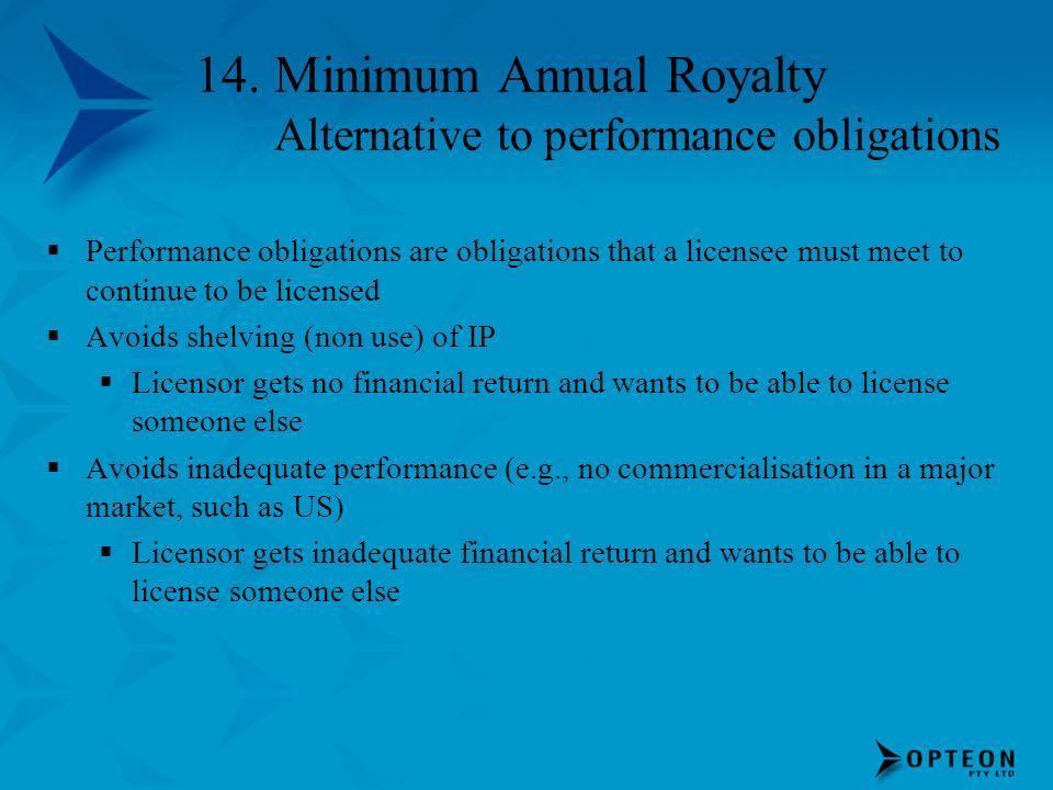 14. Minimum Annual Royalty Alternative to performance obligations