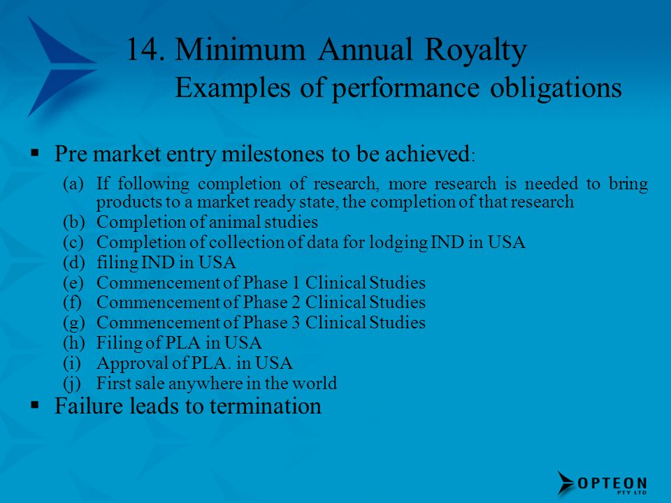 14. Minimum Annual Royalty Examples of performance obligations