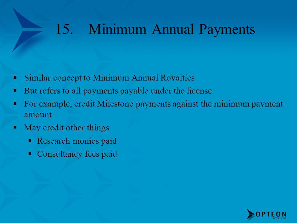 15. Minimum Annual Payments