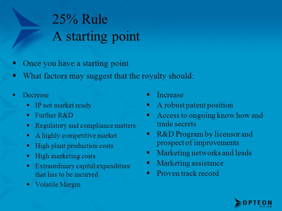 25% Rule A starting point Once you have a starting point