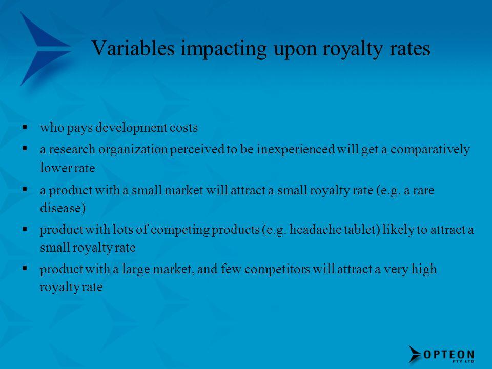 Variables impacting upon royalty rates