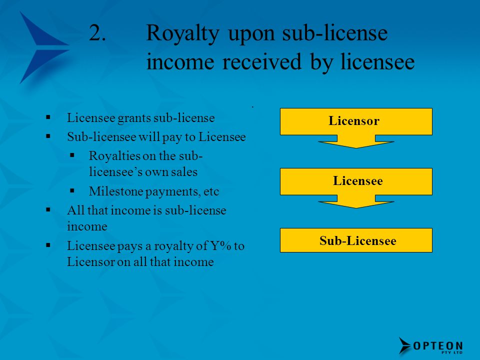 Royalty upon sub-license income received by licensee