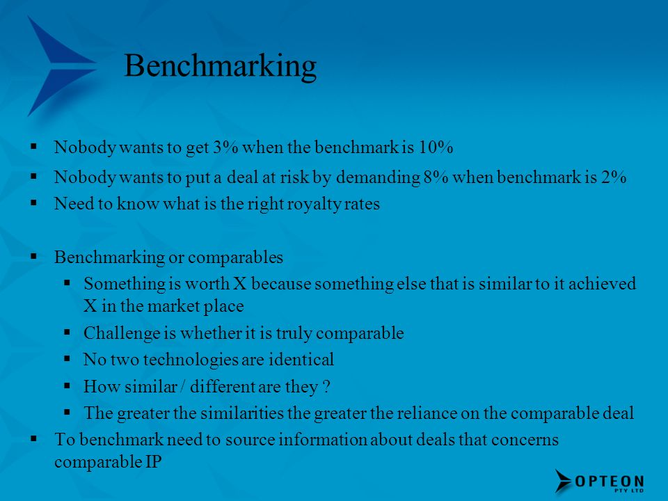 Benchmarking Nobody wants to get 3% when the benchmark is 10%