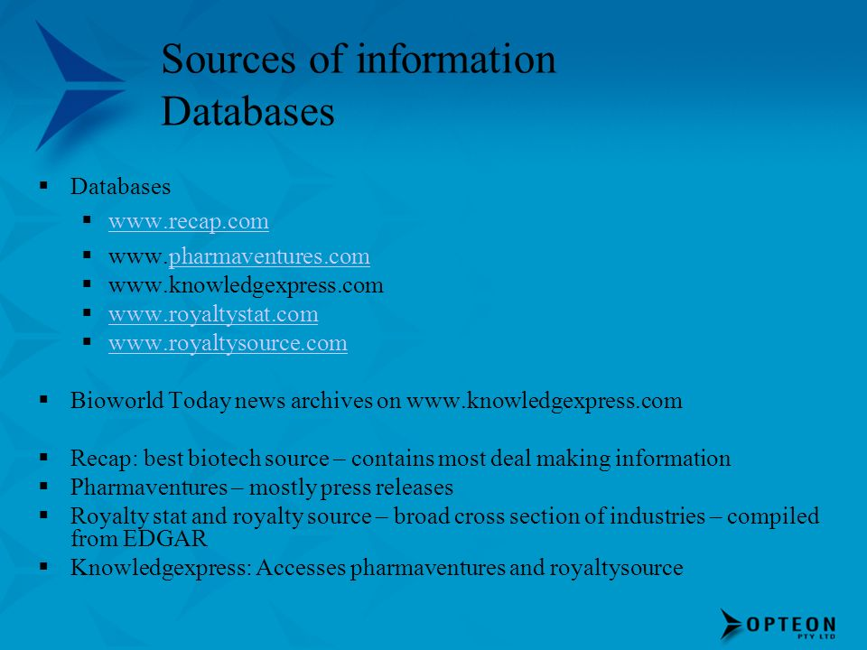 Sources of information Databases