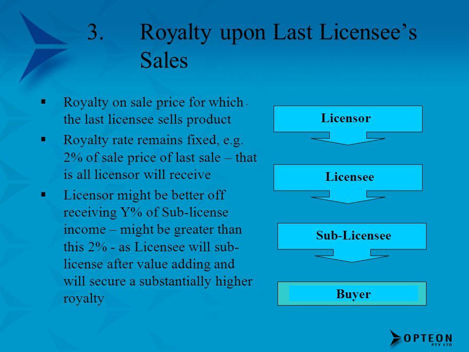 Royalty upon Last Licensee's Sales