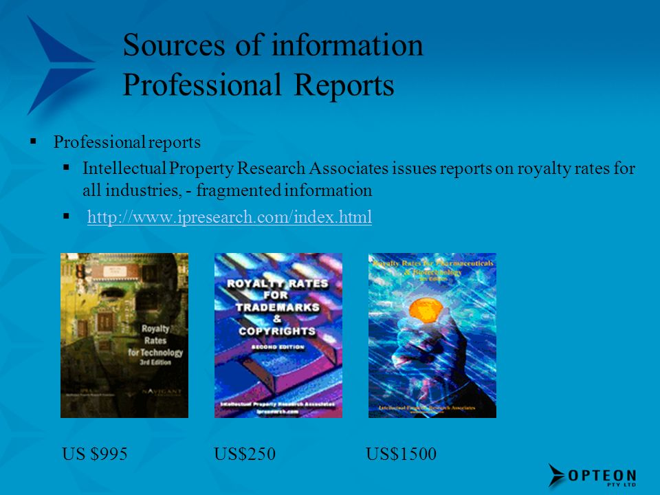 Sources of information Professional Reports