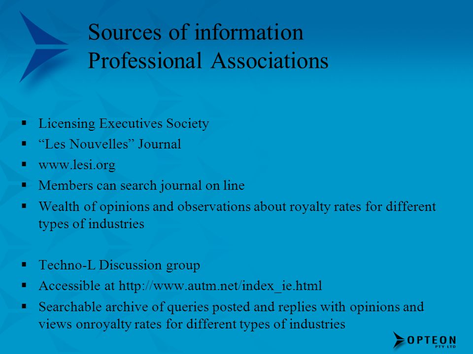 Sources of information Professional Associations