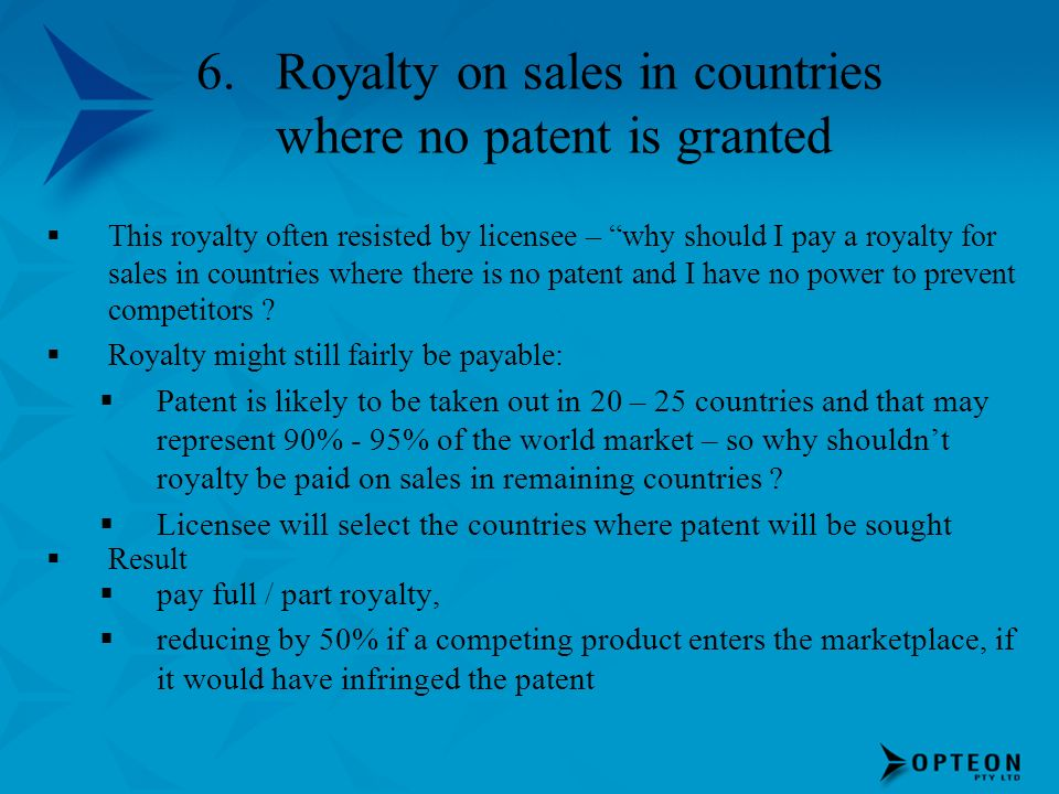Royalty on sales in countries where no patent is granted