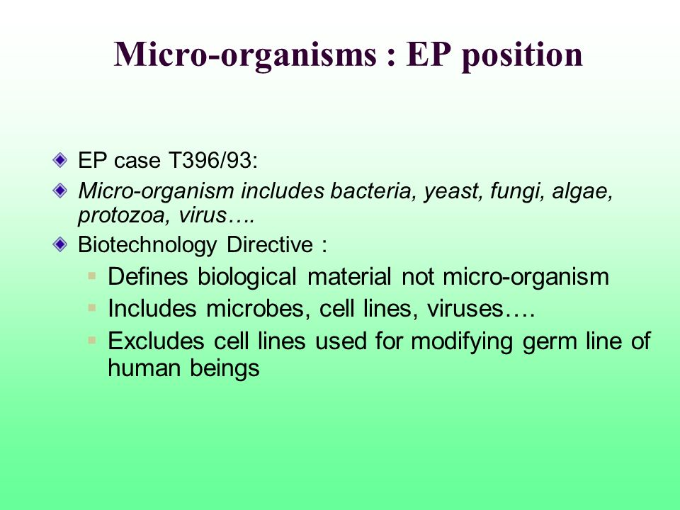 Micro-organisms : EP position