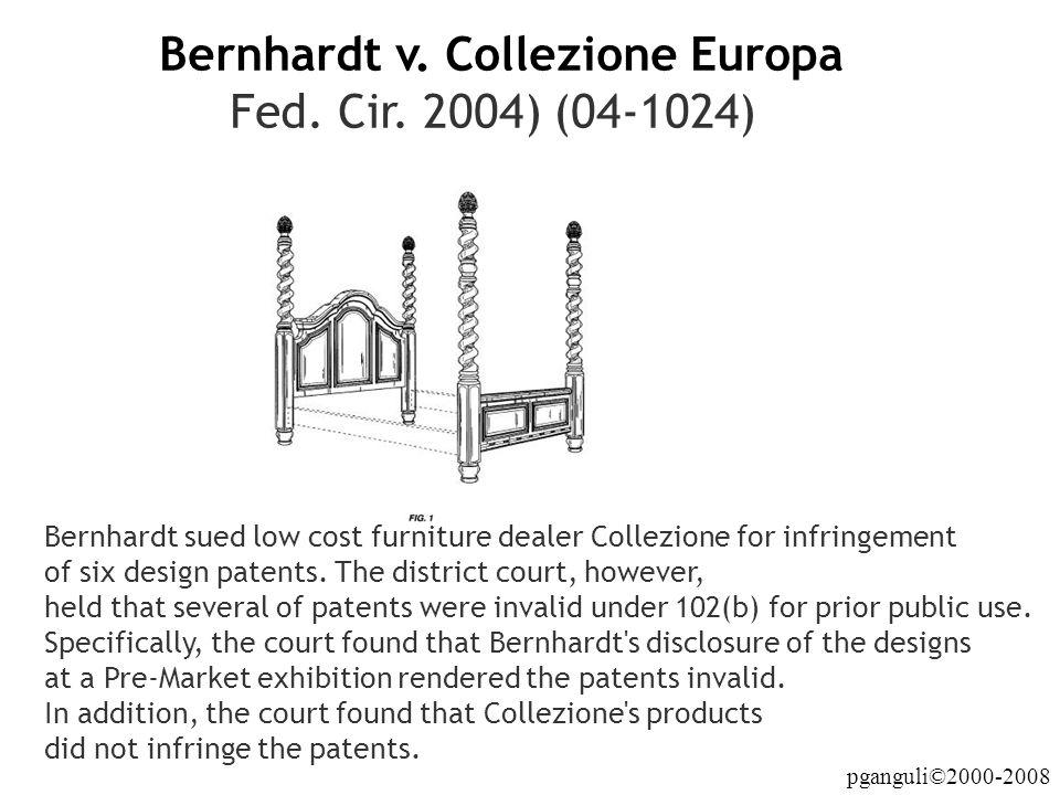 Bernhardt v. Collezione Europa Fed. Cir. 2004) (04-1024)
