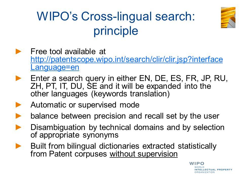WIPO's Cross-lingual search: principle