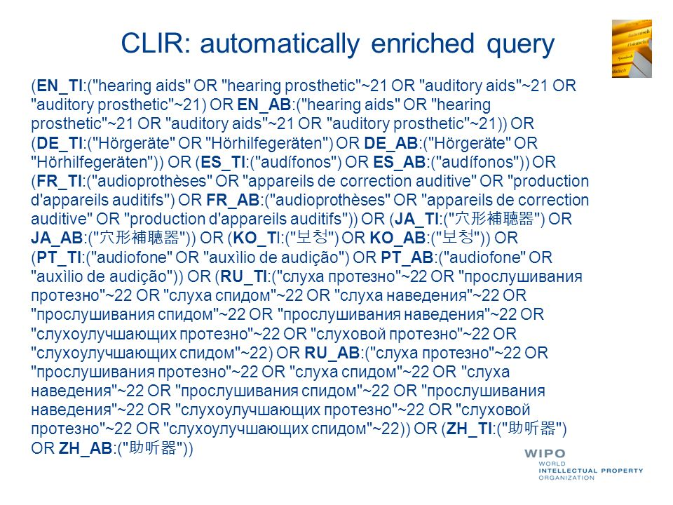 CLIR: automatically enriched query