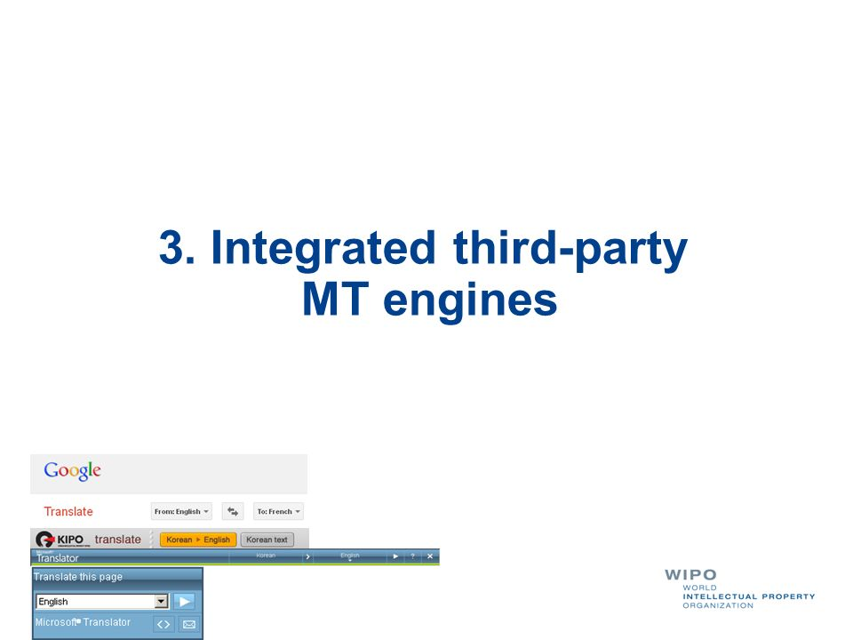 3. Integrated third-party MT engines
