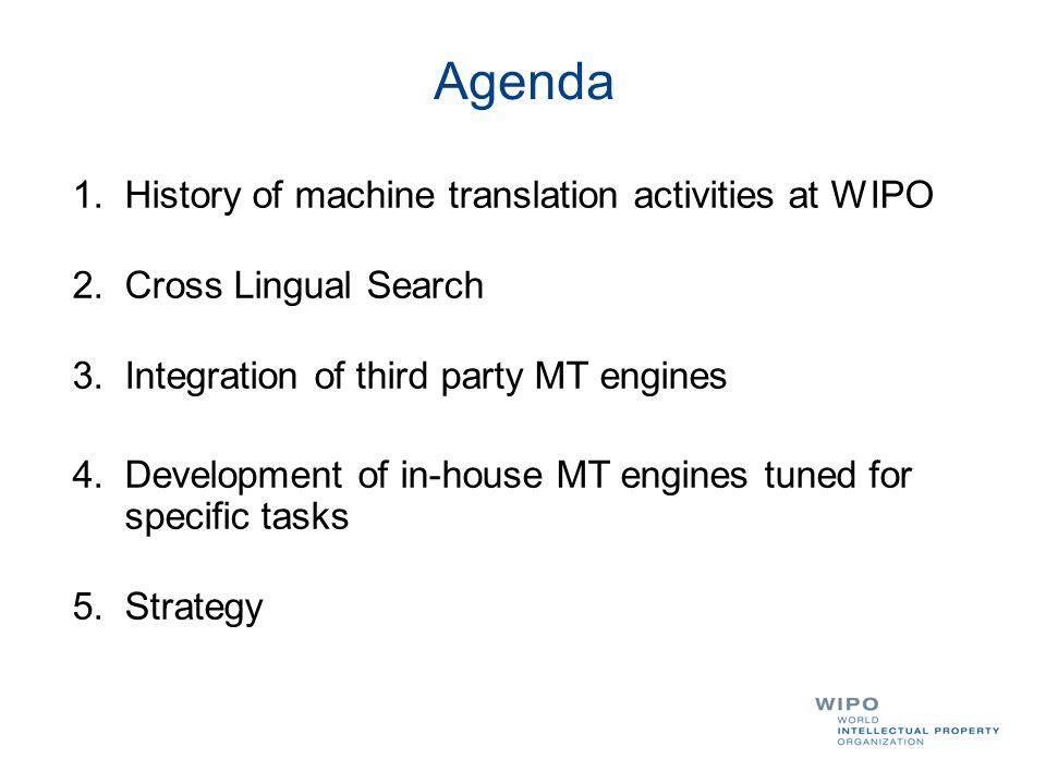 Agenda History of machine translation activities at WIPO