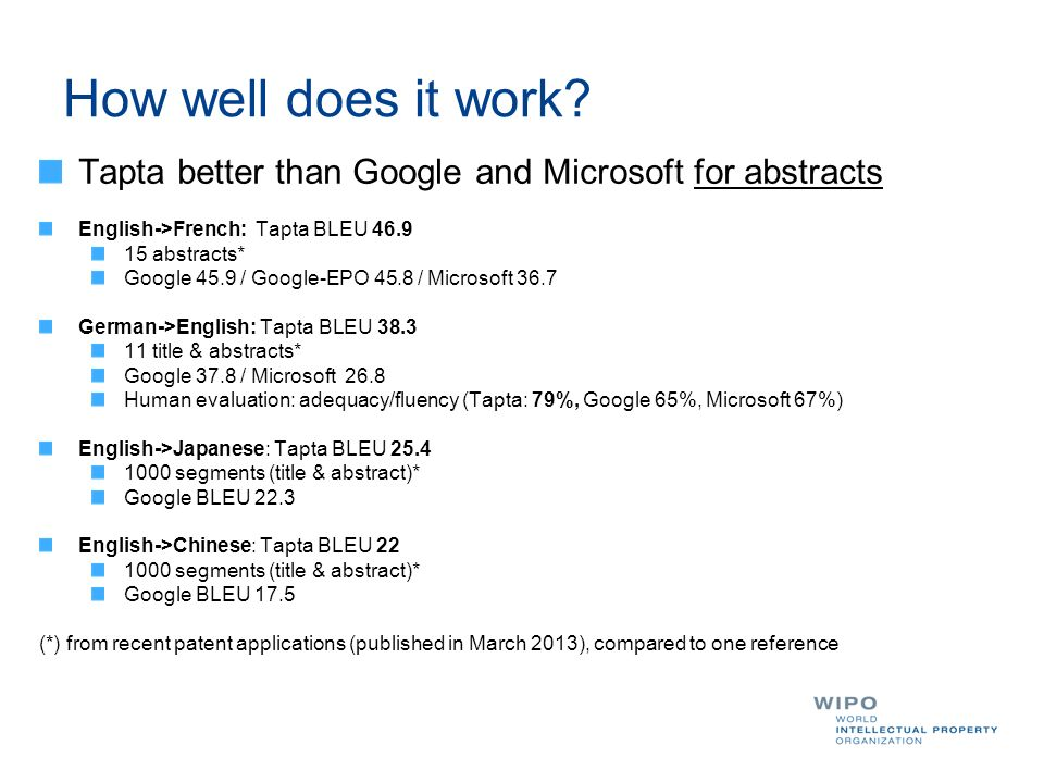 How well does it work Tapta better than Google and Microsoft for abstracts. English->French: Tapta BLEU 46.9.