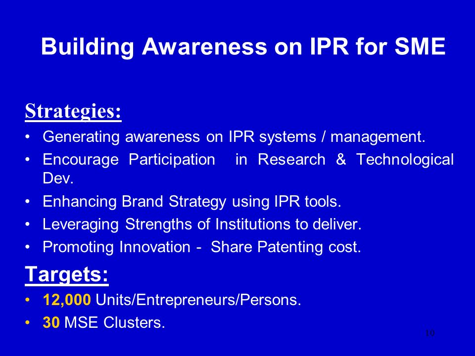 Building Awareness on IPR for SME