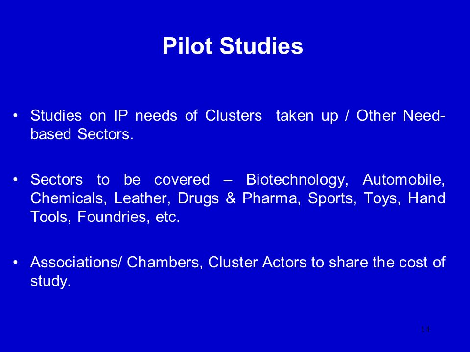 Pilot Studies Studies on IP needs of Clusters taken up / Other Need-based Sectors.