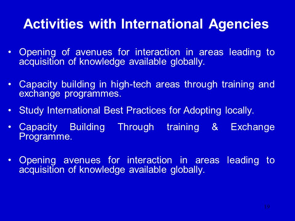 Activities with International Agencies