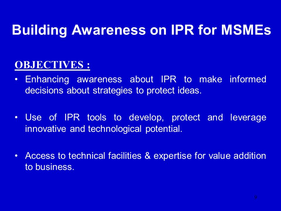 Building Awareness on IPR for MSMEs