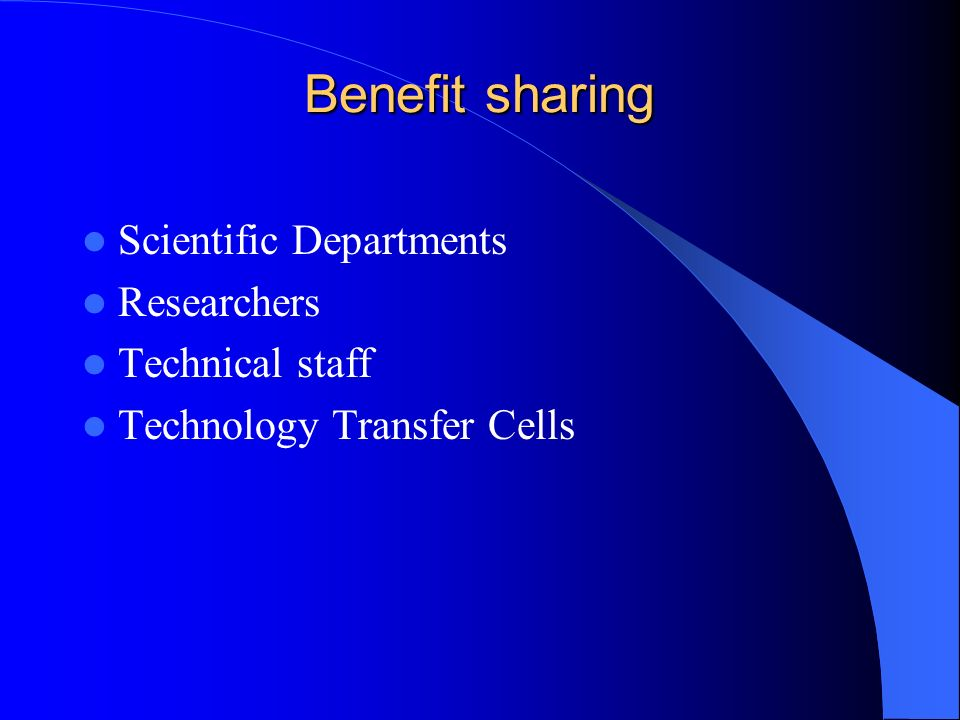 Benefit sharing Scientific Departments Researchers Technical staff