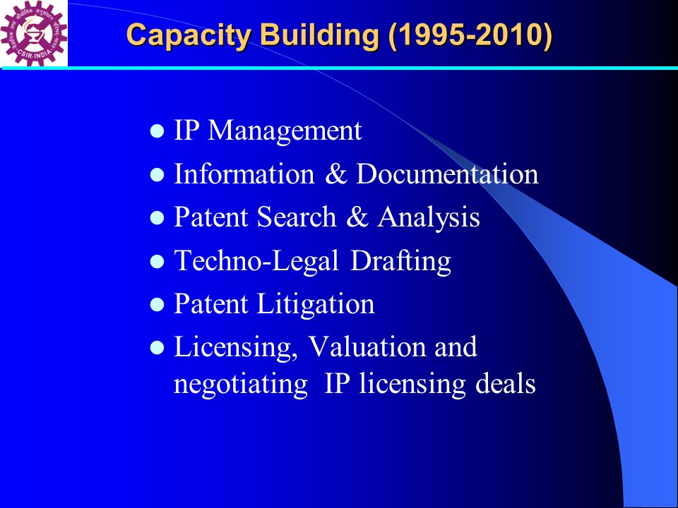 Capacity Building (1995-2010) IP Management. Information & Documentation. Patent Search & Analysis.
