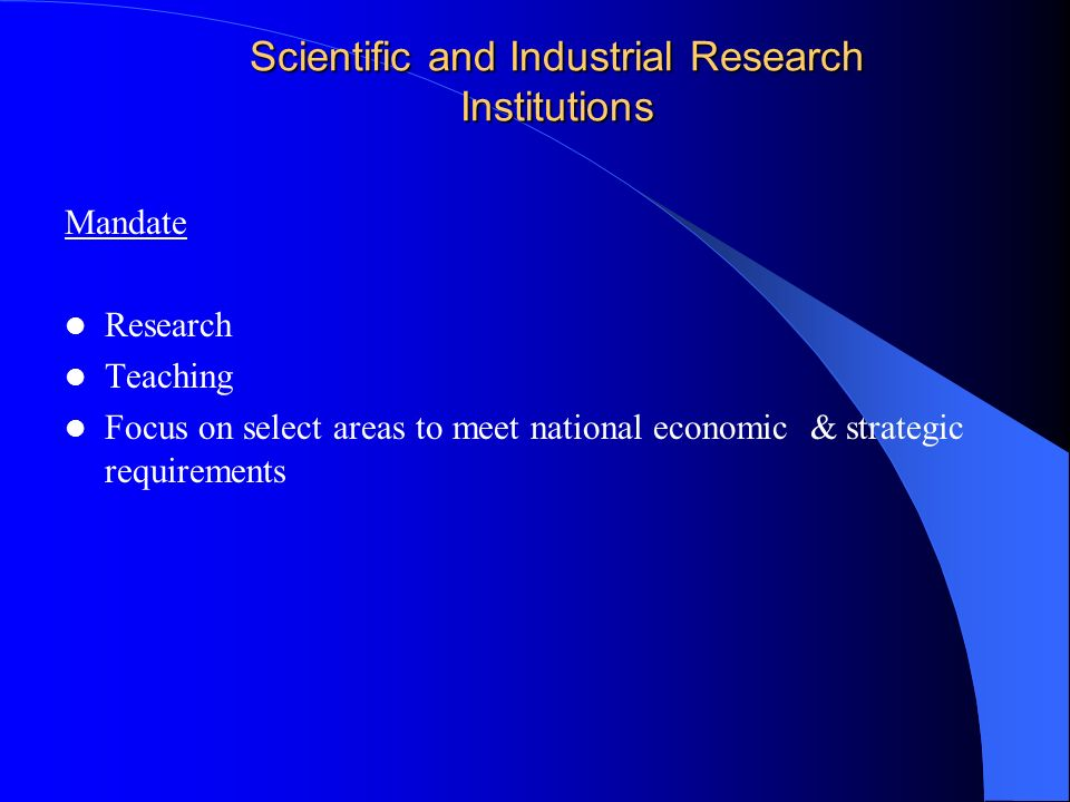 Scientific and Industrial Research Institutions