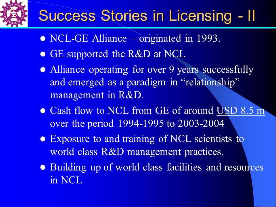 Success Stories in Licensing - II