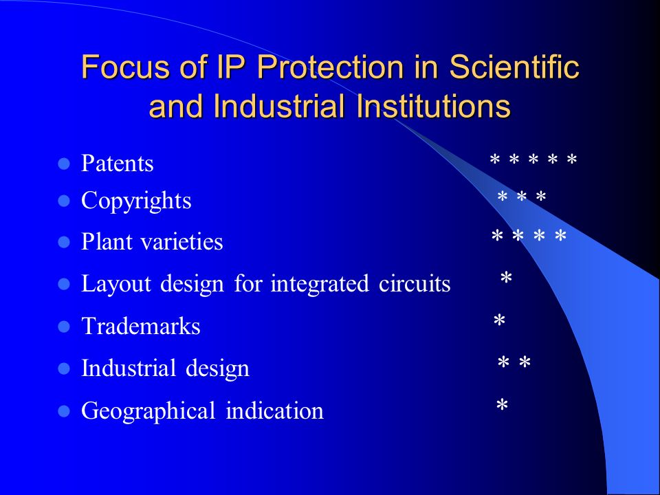 Focus of IP Protection in Scientific and Industrial Institutions