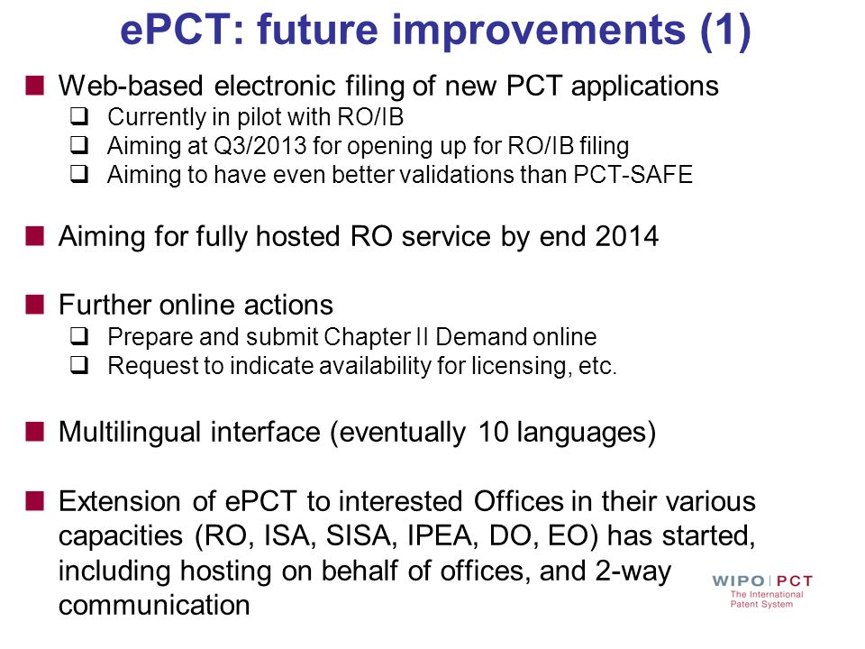 ePCT: future improvements (1)