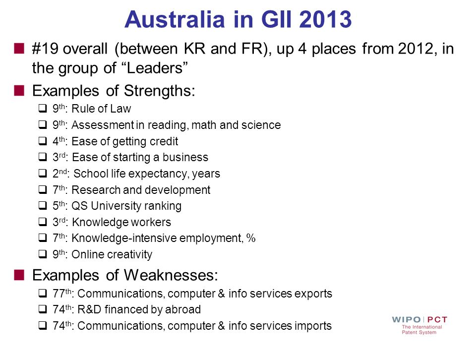 Australia in GII 2013 #19 overall (between KR and FR), up 4 places from 2012, in the group of Leaders