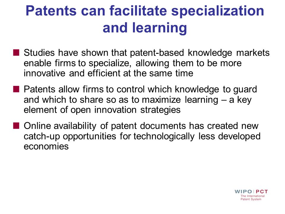 Patents can facilitate specialization and learning